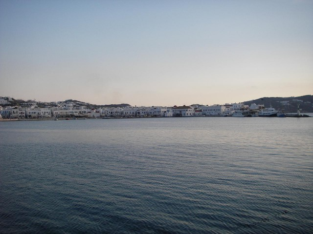 MYKONOS TOWN VIEW FROM THE OLD PORT