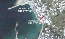 MYKONOS BUS STATION OF OLD PORT AND REMEZZO
